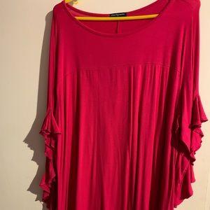 Magenta ruffle sleeve top, never worn! Red top too